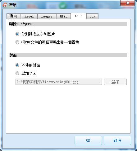 PDF轉EPUB進階設定