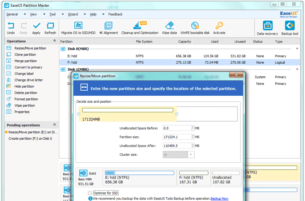 EaseUs Partition Master Free 4k alignment