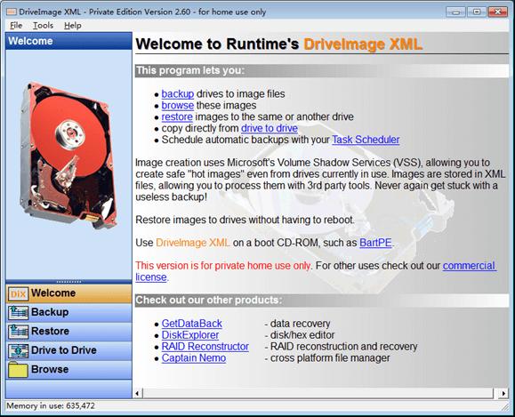 DriveImage XML interface