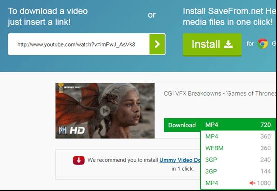選擇youtube影片下載格式
