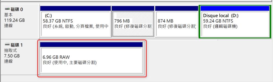 提示raw disk