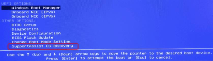 """選擇""""SupportAssist OS Recovery""""還原Dell"""