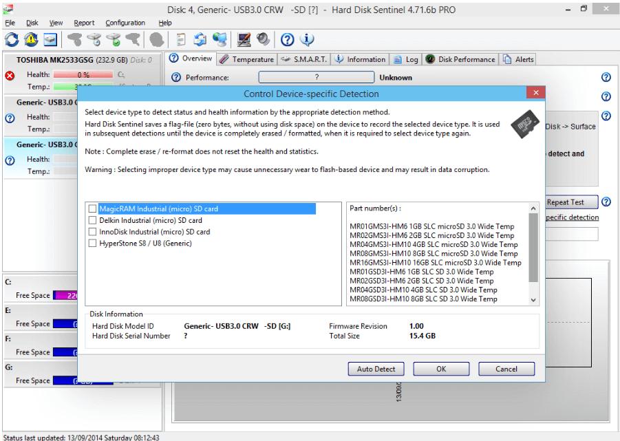 選擇設備類型並啟用SD記憶卡
