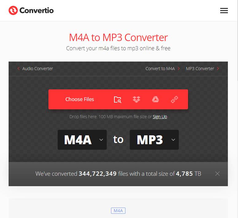 使用convertio將M4A轉MP3