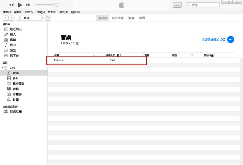 音樂檔案將會導入至iPad裝置下的音樂庫中