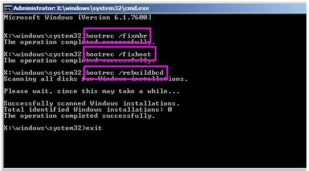 Bobotrec/FixMbr命令提示字元