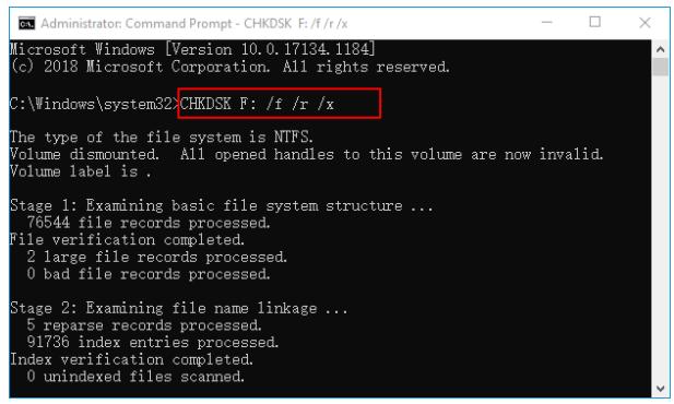 sd卡修復chkdsk F: /f /r /x命令提示字元