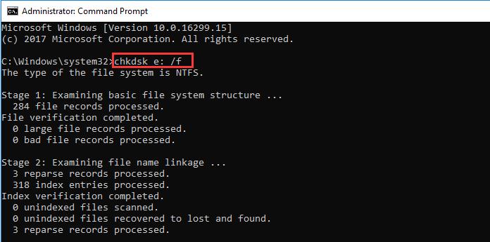 chkdsk e: /f 找回刪除檔案