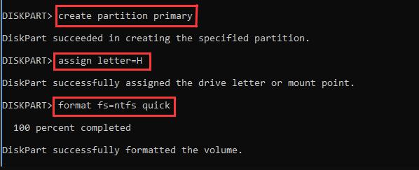 format fs=ntfs quick命令