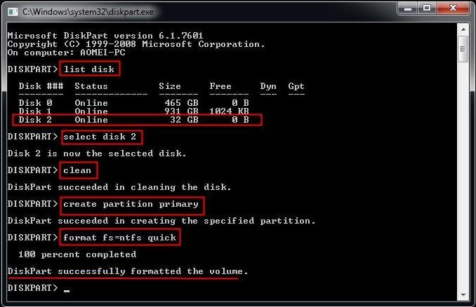 將硬碟快速格式化為NTFS檔案作業系統